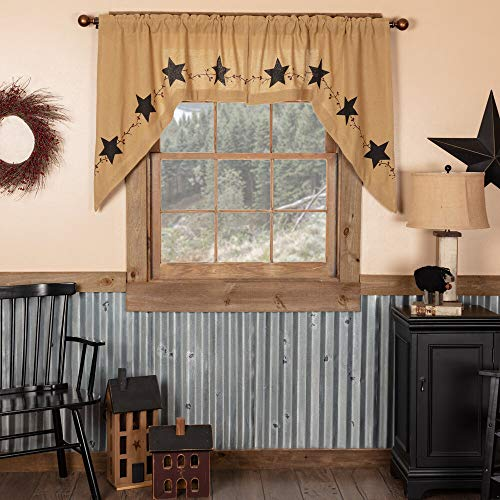 Star and Pip Country Primitive Burlap Swag Curtain Set of 2 36x36x16