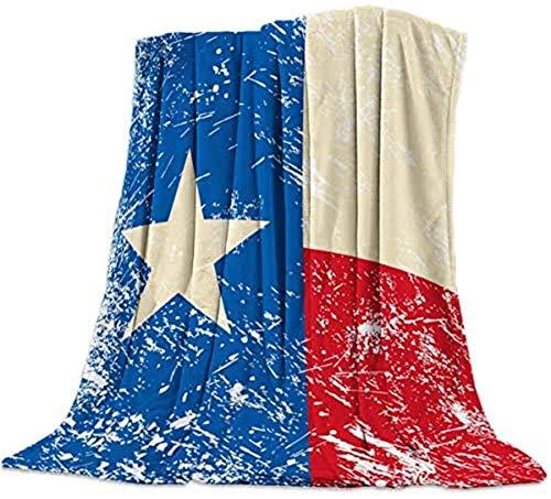 Manta de franela de forro polar con bandera de Estados Unidos, vintage, color blanco y azul, bandera roja suave, manta de peluche ligera para sofá cama para todas las estaciones, 50 x 60 pulgadas