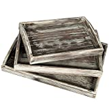 Country Rustic Torched Wood Nesting Breakfast Serving Trays with Handles, Set of 3
