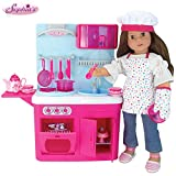 Sophia's 18' Doll Kitchen & Doll Food Baking Accessory Set of 19Piece American Girl Doll Sized, Doll Cookware & Kitchen Set with Lights & Sounds! Perfect for American Dolls & More!