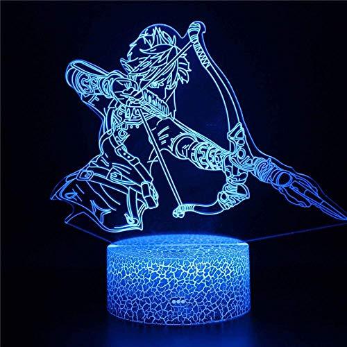 Lámpara de ilusión 3D led noche luz juego iluminación La leyenda de Zelda y interruptor táctil USB Powered dormitorio lámpara de escritorio para niños regalos hogar
