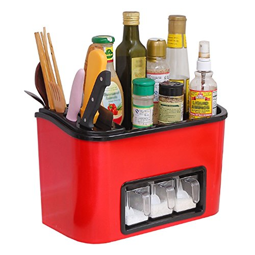 Jia He étagère à épices ABS/PC Anti-Fruff matériaux vert/blanc/rouge 2 couches intégré assaisonnement boîte/porte-couteau/baguettes de table/multifonction étagère de cuisine Dimensions: 33