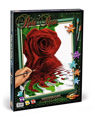 Schipper 609130521 Malen nach Zahlen, Rote Rose - Bilder malen für Erwachsene, inklusive Pinsel und Acrylfarben, 40 x 50 cm