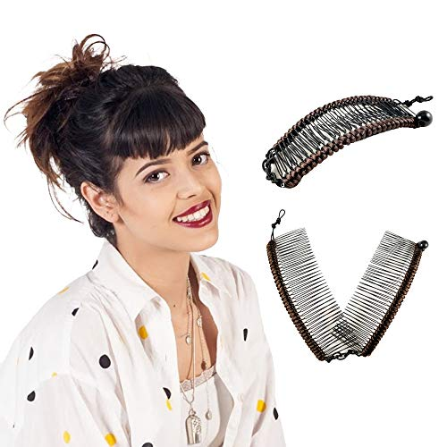 Original Stretch Banana Clip for Straight, Wavy Hair - Sturdy Hold, No Damage, Creases, or Pain, Easy Styles, Comfy UpDos, Ponytail, Buns (Brown Satin Cord w/Bar Closure)