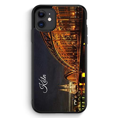Köln Schriftzug Skyline Foto - Silikon Hülle für iPhone 11 - Motiv Design Deutschland Schön - Cover Handyhülle Schutzhülle Case Schale