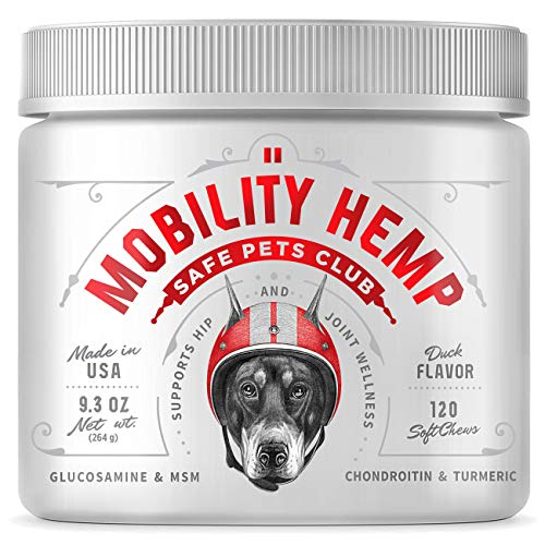 SAFE PETS CLUB Glucosamine Chondroitin for Dogs - Dog Hip and Joint Supplement - Hemp for Dogs - Dog Anxiety Chews - 120 Duck-Flavored Soft Mobility Bites - Made in USA