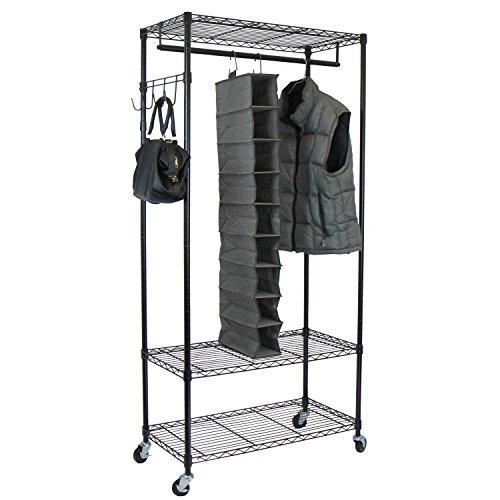Oceanstar Adjustable Shelves with Hooks Garment Rack, Black
