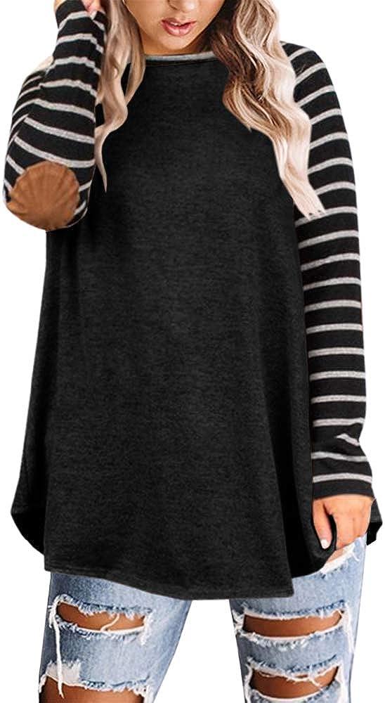 Yskkt Womens Striped Long Sleeve Raglan Size T famous Elbow Plus Long Beach Mall Shirts