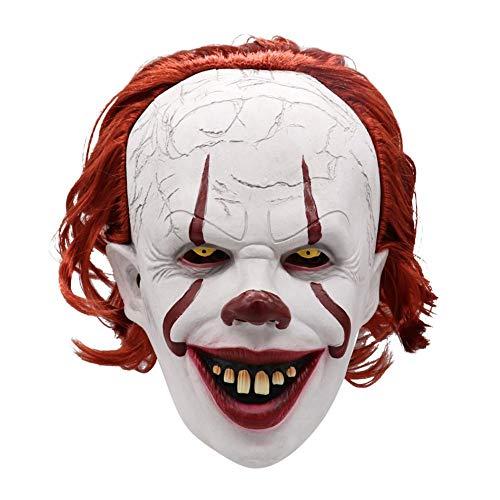 Máscara Payaso Sangriento, Máscara de Payaso de Pelo Rojo Máscara de látex de Halloween Cosplay Accesorios de Fiesta de Disfraces