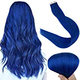Fshine 16 Inch Tape in Blue Human Hair Extensions, Adhesive Colorful Tape in Hair Extension Double Sided 25 Grams 10 Pcs Per Set Seamless Tape in Hair Extensions Remy Hair