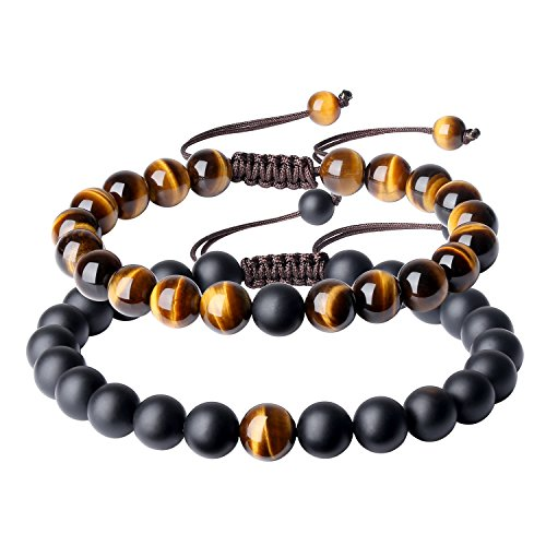 COAI You Complete Me Onyx Tiger Eye Stone Bracelets for Couples