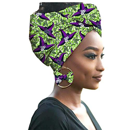 Yijinstyle Damen Afrikanischen Turban Kopf mit Ohrring Elastische Stirnband Hut Elegante Kappen Gedruckt Hijab Headwrap (Style#14, 55 * 180cm)
