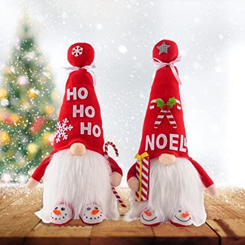 YUESUO Gnomo de Navidad con luz cálida, decoración de mesa de peluche para fiestas de vacaciones, decoración de mesa familiar