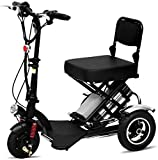 DBXOKK Silla de Ruedas eléctrica Ancianos discapacitados Mini Triciclo eléctrico Plegable Inicio Scooter 360 ° Batería de Litio de Crucero de Velocidad Fija giratoria con Luces, 48V12AH / 60KM