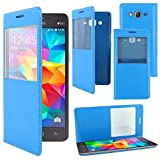 ebestStar - Funda Compatible con Samsung Grand Prime Galaxy G530F, Value Edition G531F Carcasa Ventana Vista Cover Cuero PU, Funda Libro Billetera, Azul [Aparato: 144.8 x 72.1 x 8.6mm, 5.0'']