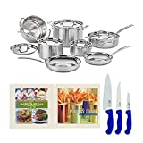 Cuisinart MCP-12N MultiClad Pro 3-Ply Stainless Steel 12-Piece Cookware Set with 2 Cookbooks, and Set of 3 Knives Bundle (6 Items)
