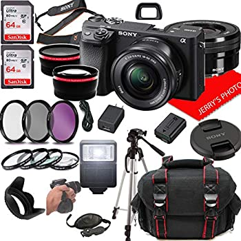 Sony Alpha a6400 Mirrorless Digital Camera with 16-50mm Lens + Case + 128GB Memory  25pc Bundle