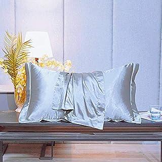 Satin Pillow Shams 2 Pcs Super Soft and Luxury Pillowcases (Standard 48cm x73cm, Silver)