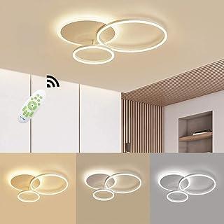 Luz de techo moderna LED acrílico creativo diseño de aluminio redondo luz de la sala regulable con control remoto (3000K ~ 6000K) lámpara de decoración de interiores (Blanco, 3◯)