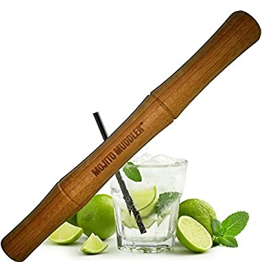 Mojito Muddlers 11  Professional Grade Bamboo Muddler - Best Drinks and Cocktails Bar Tool; Won't Shred or Taint Like Plastic, Stainless Steel or Cheap Wooden Muddlers (Bartenders LOVE It)