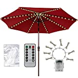 Patio Umbrella Lights Newest Version 8 Strings Lights 104 LEDs 8 Lighting Modes with Remote Control Battery Operated Waterproof Umbrella Lights for Indoor Outdoor, Warm White Battery not Included