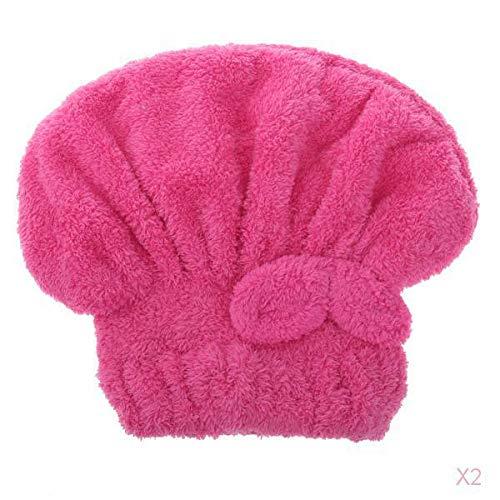 SM SunniMix Sèche Chapeau Cheveux Cheveux En Microfibres Turban Douche Rapidement Bonnets De Bain Enveloppé Rouge