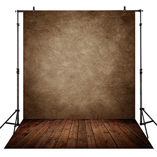 Allenjoy 6x8ft Soft Fabric Retro Abstract Brown Wall with Wood Floor Backdrop for Kids Photography Baby Newborn Cake Smash Photo Shoot Background Photographer Props