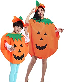 Halloween Pumpkin Costume Set, Washable Loose Top Dress+Hat Family Outfit for Cosplay & Halloween Party (4PCS) Orange