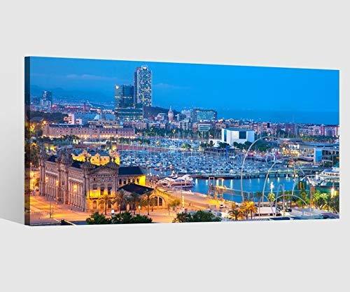 Leinwandbild Leinwand Skyline Barcelona Spanien Horbor Bild Bilder Wandbild Holz Leinwandbilder Kunstdruck vom Hersteller 9AB638, Leinwand Größe 1:40x20cm