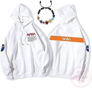 ユニセックスフーディー宇宙飛行士NASAスペースプログラムコットンルーズカンガルーポケットスウェットシャツプルオーバーメンズとレディースナインプラネットガーディアンブレスレット,白,XXXL