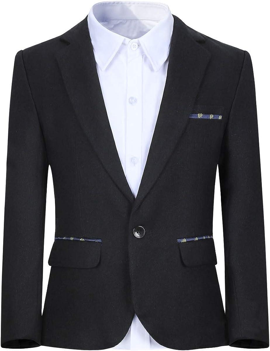 Boys Formal Blazer Jacket Outfit Dress Solid Color