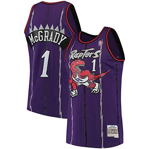 Camiseta de baloncesto Tracy Toronto NO.1 Púrpura, Raptors McGrady 1998-99 Hardwood Classics Swingman Jersey transpirable de manga corta para hombre