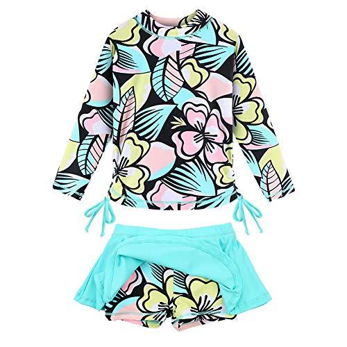 TFJH E Girls Long Sleeve Swimsuits 2-Pieces Rash Guard Set Swimming Skirt UPF 50+ Cyan Flower 6A