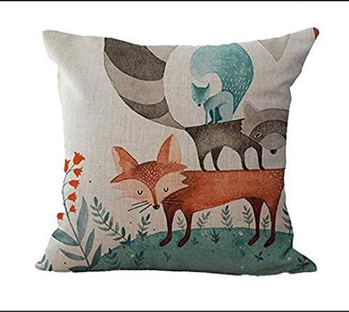 Screenes Mode Imprimé Accueil Animal Fox Coussins Coussins Creative Canapé Coussin Simple Style Coussins Couvre 1 Simplicité Mode Confortable Chic Usage Quotidien (Color : 1, Size : Size)