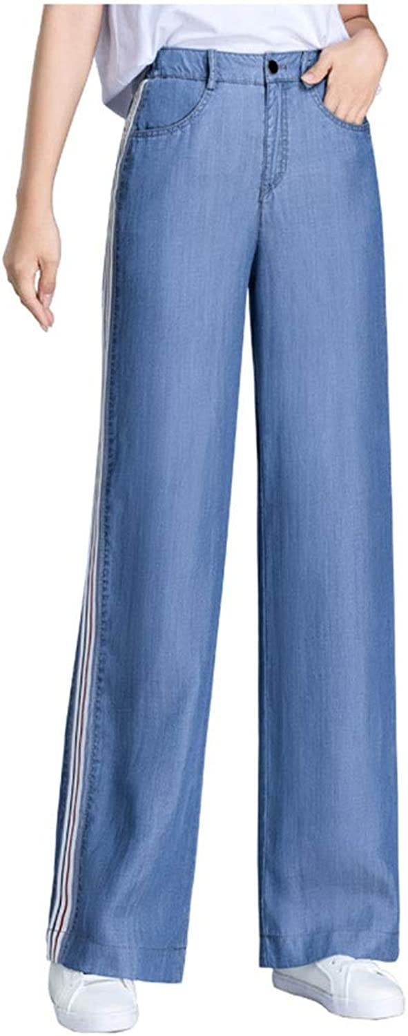 Side Stripe Tencel Jeans Women Loose Wide Leg Pants Spring and Autumn New Trousers Falling Straight Straight Pants Tencel WideLeg Pants, Length 99CM (color   bluee, Size   28 L)