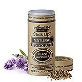 Stick Up Natural Deodorant for Women and Men with Bentonite Clay Powder, Arrowroot, Magnesium, Zinc, 3 oz. Vegan Deodorant for 3-4 months, Black Lavender - Primal Life Organics