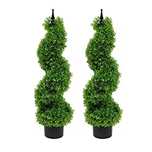 Armada Boxwood Topiary Trees Faux Spiral Artificial Feaux Plants Green Fakes Toparies Tree Indoor Outdoor Decor Plant with Plastic Pot Set of 2