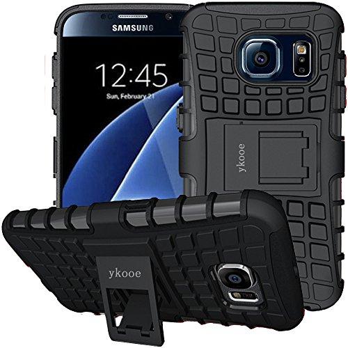 ykooe Galaxy S6 Hülle, S6 Hülle (TPU Series) Dual Layer Hybrid Handyhülle Drop Resistance Handys Schutz Hülle mit Ständer für Samsung Galaxy S6 (Schwarz)