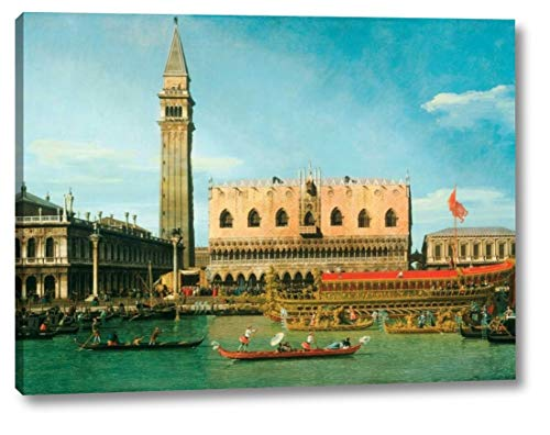 """The Bucintoro at The Molo on Ascension Day by Canaletto - 23"""" x 30"""" Canvas Art Print Gallery Wrapped - Ready to Hang"""