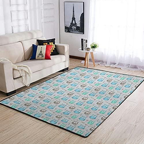 Alfombra de búho para dormitorio, suelo, sofá, sala de estar, habitación de los niños, color blanco 50 x 80 cm