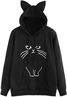 Lady Cat Shirt, Misaky Slogan Letter Cat Ear Pullover Hoodie with Kangaroo Pockets