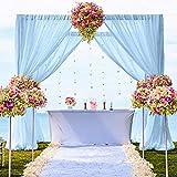 Cortinas de gasa con 2 Dos piezas 29 x 120 pulgadas, color azul bebé, cortinas transparentes de gasa para cumpleaños, telón de fondo de fotos, cortinas de tela de gasa para ceremonia de boda