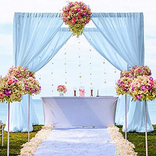 Chiffon Backdrop Curtain 5FTx10FT Baby Blue Chiffon Fabric Drapes for Wedding Ceremony Sheer Curtains 2 Panels 29''x120'' Photography Backdrop Drapes Blue Polyester Chiffon Backdrop