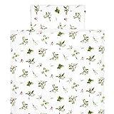 KraftKids Bettwäsche-Set Zweige grün rot auf Weiß aus Kopfkissen 40 x 60 cm und Bettdecke 135 x...