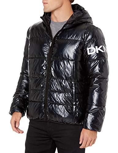 DKNY Water Resistant Ultra Loft Hooded Logo Puffer Jacket Abrigo de alternativa sintética de plumas, Negro, XXL para Hombre