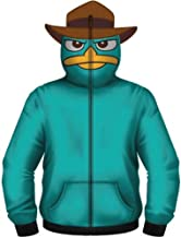 Phineas and Ferb Perry the Pet Platypus Turquoise Costume Hoodie Zip Up Sweatshirt