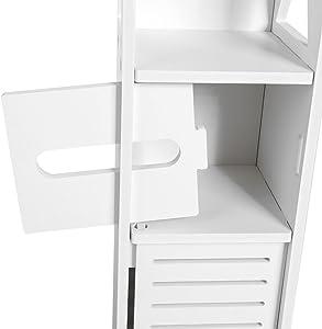 Greensen - Armario de Baño, Resistente a la Humedad, Estante Organizador de Almacenamiento para Baño, Dormitorio, Cocina, Pasillo, con Capa de Papel, 80 x 15,5 x 15 cm
