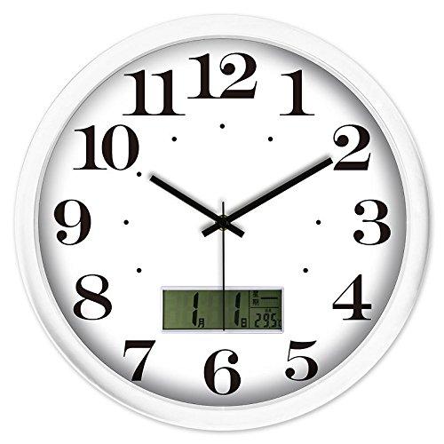 Non-Tickende Wohnküche Elektronische Wandtafel Der Elektronischen Uhrpersönlichkeit Der Einfachen Wanduhr Der Digitalen Anzeigenwanduhr Modernen Elektronischen Stillen Kalenders,14 Zoll,Weißer Kasten