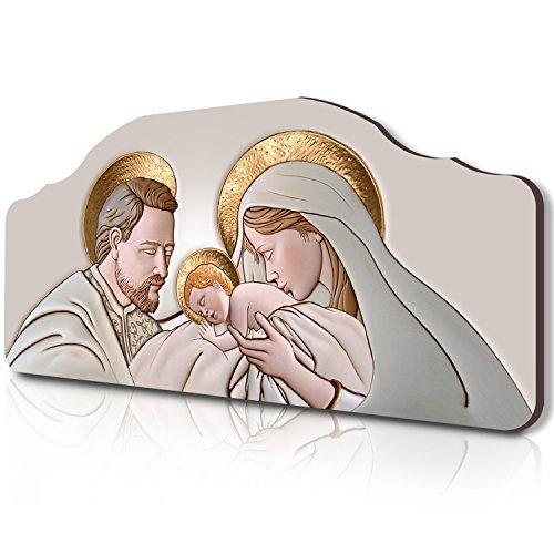 Lupia Quadro capezzale Sacra Famiglia 42x92 cm The Kiss Ceramic su tavola Lavorata