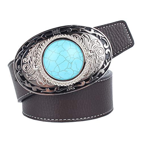Cinturón de Cuero Artificial Correa de Cintura con Hebilla de Piedra de Turquesa Estilo Nativo Americano para Hombres Casuales - café, 120cm